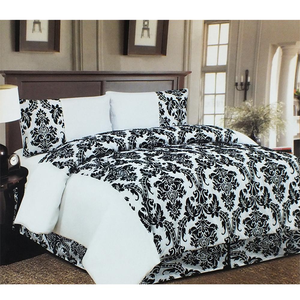 white amp black damask 4 pcs bedding set � duvet sets � gift