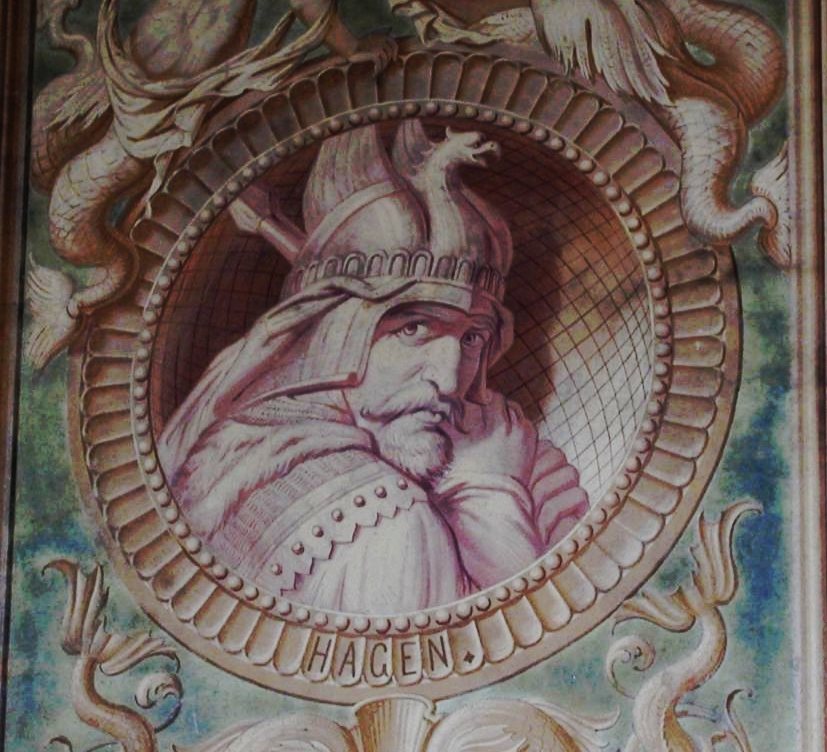 Hagen von Tronje im Nibelungenzyklus, Marmorpalais Potsdam. (CC-BY-SA von viborg~commonswiki / Wikipedia)