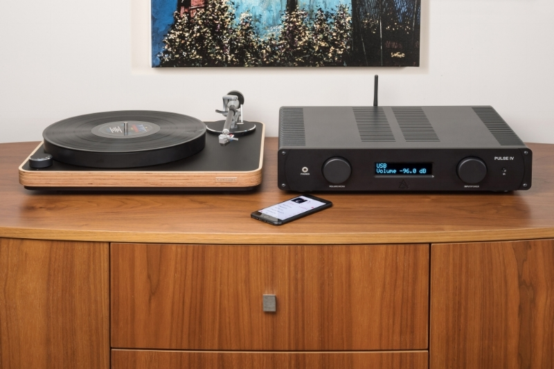 Play vinyl and stream over BT - Pulse IV amplifier with vinyl playback, Bluetooth, high-res audio and 7-input DAC