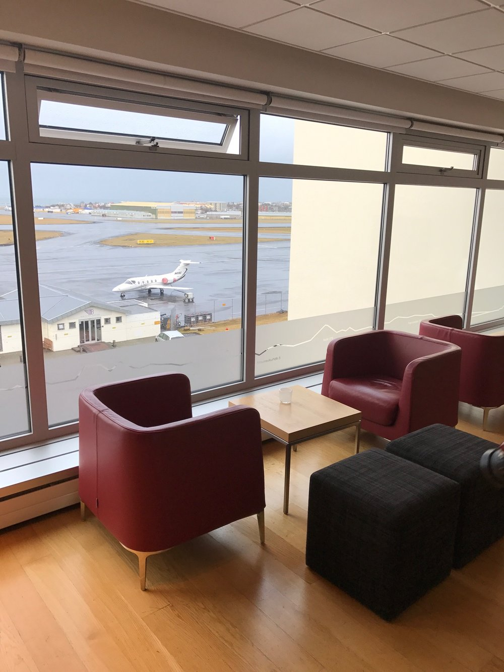 Pictured: 4th floor Lounge with a view of Icelandic Air private jet airport where celebrities such as Kim Kardashian and Justin Bieber have landed.