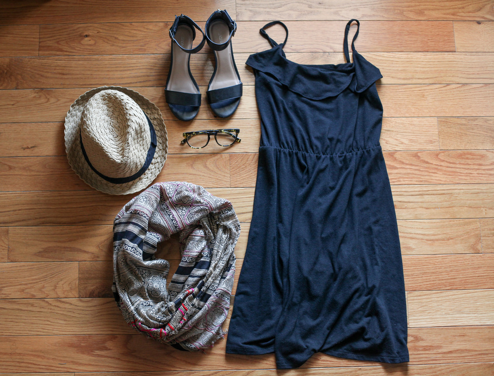 Scarf:  Urban Outfitters  Dress:  Target  Glasses:  Warby Parker  Hat:  F21  Shoes:  Target