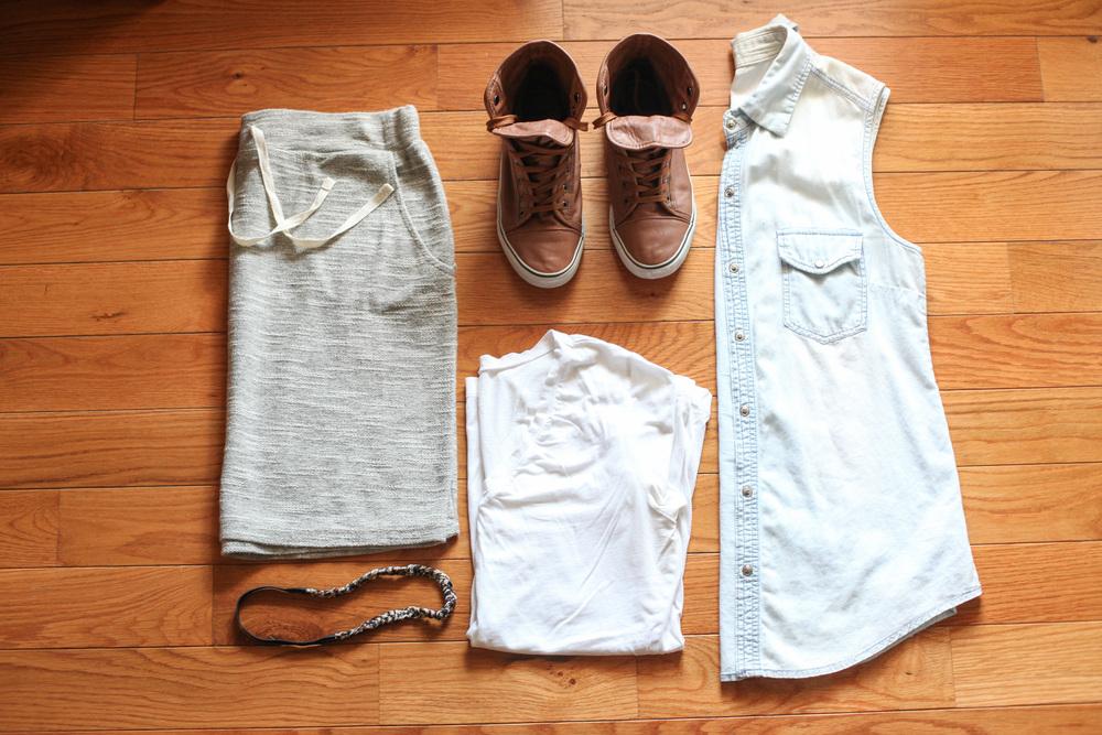 Skirt:  Kohl's  Shoes:  GoJane.com  T-Shirt:  Gap  Jean Shirt:  Marshalls  Headband:  F21