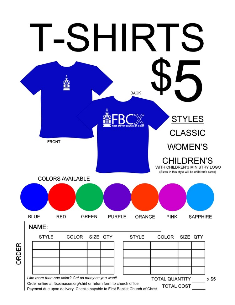 T-Shirt Order Form — Fbc Macon