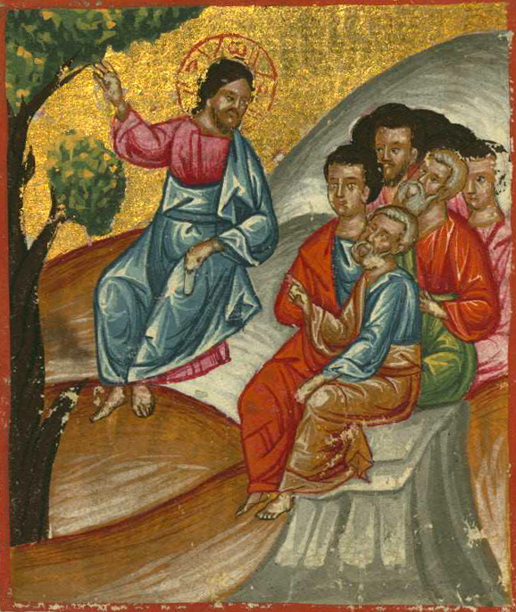Bazzi Rahib, Ilyas Basim Khuri. Christ Teaching the Disciples, from  Art in the Christian Tradition , a project of the Vanderbilt Divinity Library, Nashville, TN.  http://diglib.library.vanderbilt.edu/act-imagelink.pl?RC=56626  [retrieved September 19, 2018]. Original source:  https://commons.wikimedia.org/wiki/File:Jesus_teaching_his_disciples.jpg .