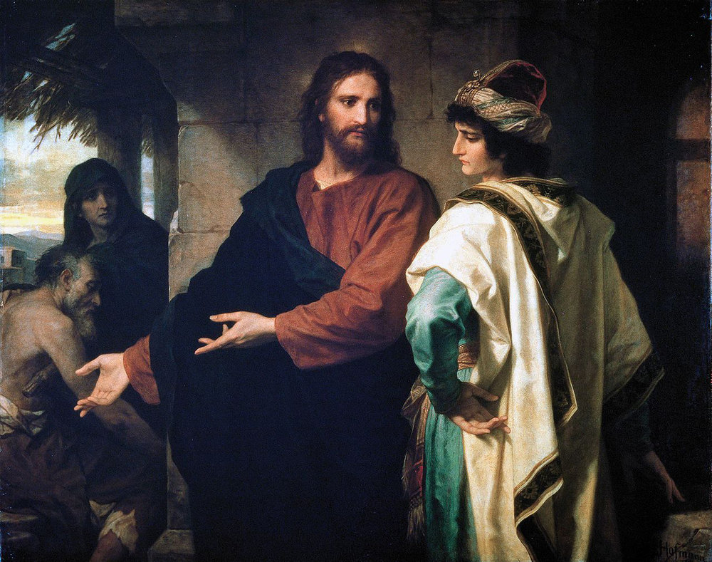 Hofmann, Heinrich (Johann Michael Ferdinand Heinrich), 1824-1911. Christ and the Rich Young Ruler, from  Art in the Christian Tradition , a project of the Vanderbilt Divinity Library, Nashville, TN.  http://diglib.library.vanderbilt.edu/act-imagelink.pl?RC=56649  [retrieved October 23, 2018]. Original source: https://commons.wikimedia.org/wiki/File:Hoffman-ChristAndTheRichYoungRuler.jpg.