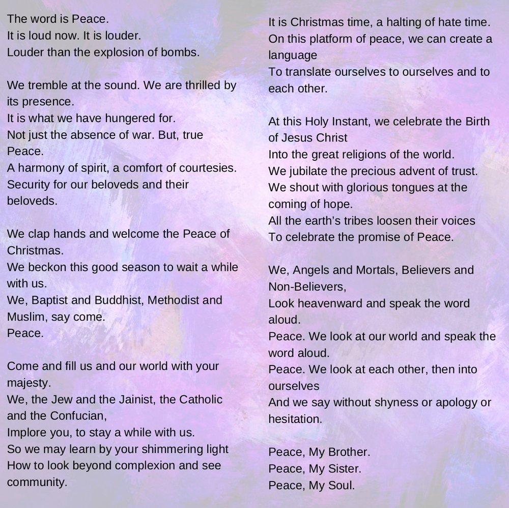 """""""Amazing Peace,"""" by Maya Angelou"""