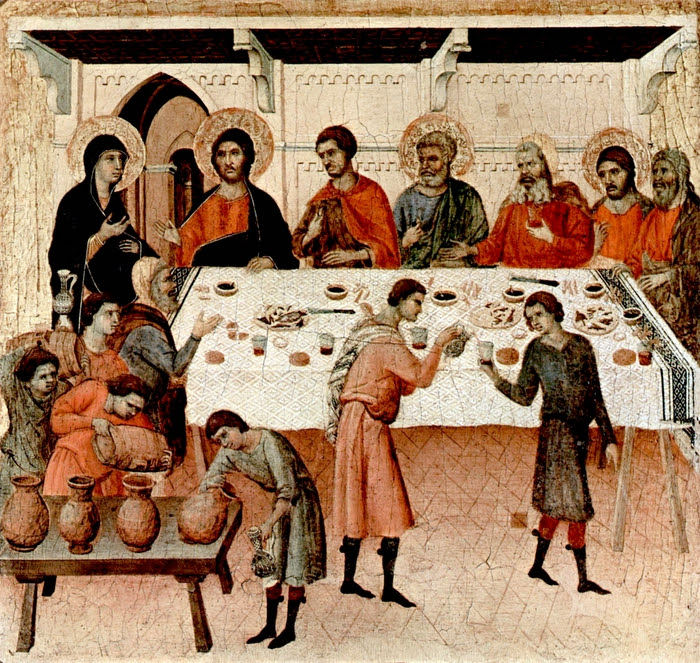 Duccio, di Buoninsegna, d. 1319. Wedding at Cana, from Art in the Christian Tradition, a project of the Vanderbilt Divinity Library, Nashville, TN. http://diglib.library.vanderbilt.edu/act- imagelink.pl?RC=49263 [retrieved January 17, 2019]. Original source: www.yorckproject.de.