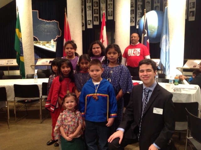 Children of Choctaw, Comanche and Kiowas American Indian tribes at the Festival of Faiths Celebration held in Dallas, TX