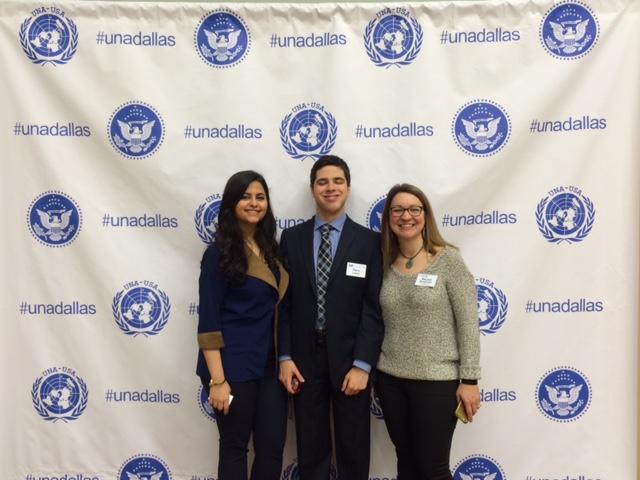 (L to R) Syrian Activist -Sana Mustafa, UNYC Dallas Founder - Pierce Lowary and Rev. Rachel Baughman