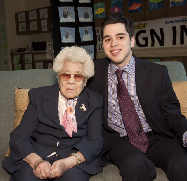 Lee Ok-Seon, survivor of WWII Comfort Women, with UNYC President Pierce Lowary