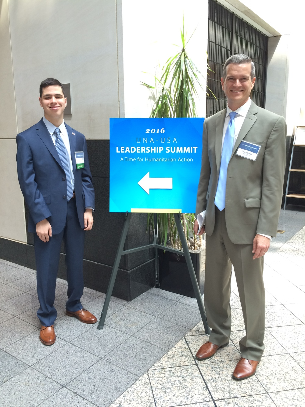 Pierce Lowary with UNA-USA Executive Director Chris Whatley 2016 Leadership Summit in DC
