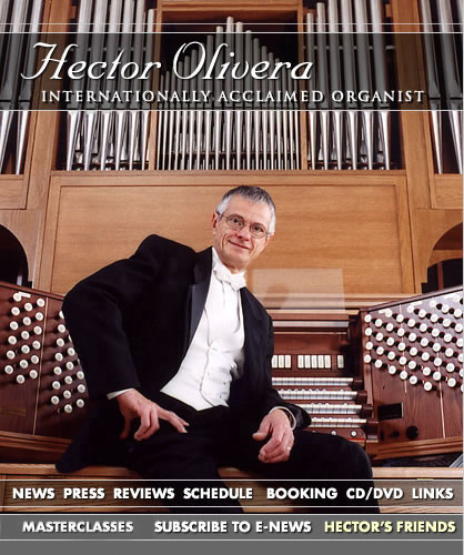"Hector Olivera, Internationally acclaimed Organist, will be in OUR Sanctuary on Saturday, November 28th at 7:30pm.    View his website here:  http://www.hectorolivera.com/index1.html      Since entering the Buenos Aires Conservatory as a child prodigy at age six, Maestro Hector Olivera has become one of the most sought after and revered international concert organists of the present time.  'The Times Reporter', describes an evening with Mr. Olivera as:   ""An event, a happening, a joyful celebration of the sheer power and pressure that a true virtuoso like Hector Olivera can unleash in a concert hall.""   Born in Buenos Aires, Mr. Olivera began playing the pipe organ when he was three. At age five he played for the legendary Eva Perón; at twelve he entered the University of Buenos Aires and by eighteen had performed for heads of state and celebrities throughout Latin America. When offered a scholarship at the renowned Juilliard School of Music in New York, he moved to the United States. Three years later, Mr. Olivera's outstanding professional concert career was launched when he won the AGO's National Improvisation Contest.  Mr. Olivera has performed solo concerts throughout the USA, Europe, Asia, Australia, Central and Latin America and as guest soloist with prominent symphony orchestras worldwide.  Whether in a prestigious venue like Carnegie Hall, Royal Albert Hall, Cathedral of Notre Dame in Paris, Constitution Hall, Walt Disney Concert Hall in Los Angeles, or in conjunction with a celebrated event like the Olympic games or the Classical Newport Music Festival, the most sophisticated and demanding organ aficionados claim that Maestro Hector Olivera is  'one of the greatest organists in the world today.'    Mr. Olivera is represented by Thomas White and can be contacted at @  HectorOliveraMPI@aol.com"