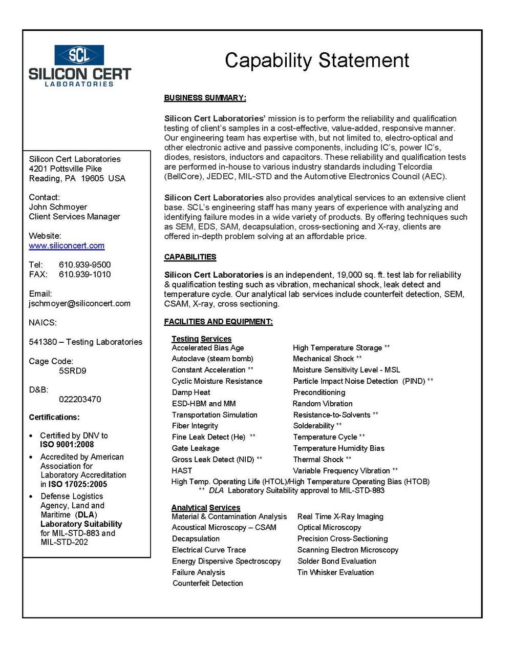 capability statement silicon cert laboratories
