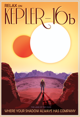 "Like Luke Skywalker's planet ""Tatooine"" in Star Wars, Kepler-16b orbits a pair of stars. Depicted here as a terrestrial planet, Kepler-16b might also be a gas giant like Saturn. Prospects for life on this unusual world aren't good, as it has a temperature similar to that of dry ice. But the discovery indicates that the movie's iconic double-sunset is anything but science fiction."