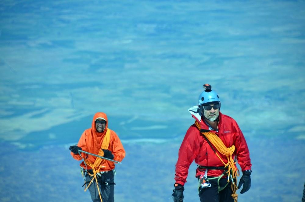 Mountaineer Holt Condren exploring Mount Ararat with fellow explorer Kevin DeVries