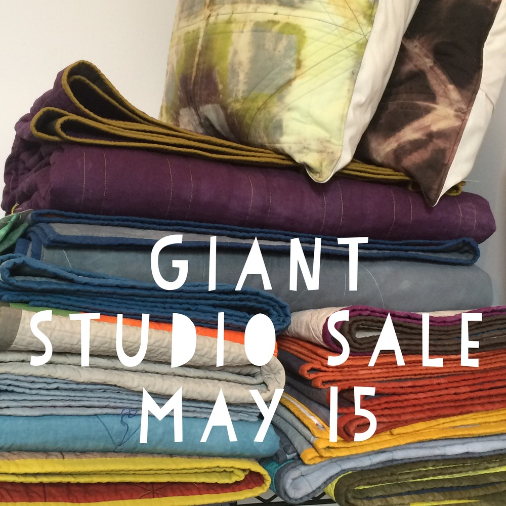 Help me clean my studio and make space for new work! Over the past few years I have made a ton of quilts and other quilted items and I'm ready to say goodbye to some of them. It will be a sad day for me, but a happy day for their new families. Come check out the selection, Friday May 15. In addition to loads of awesome quilts and quilted things, I will also be selling most of my hand dyed fabric stash and some sweet hand-dyed t-shirts that I've been working on.  Not in Kansas City? Don't fear. I will be posting everything that doesn't sell to my instagram account  @kimemquilts  on Saturday, May 16 and you can purchase there with a PayPal account.