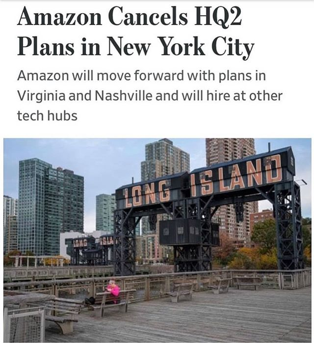 Long Island City, will not be the home of Amazon's HQ 2, multiple sources report (📷@wsj) ... The HQ was estimated to bring between 25,000 - 50,000 jobs to the area. .... Is this good or bad news? Share your thoughts. 💬 ... #commentbelow👇 #BROOKLYN#breakingnews #brooklynnews#nyc#amazon #amazonhq2 #hq2 #wsj #news#nycnews#realestate #cre #lic #longislandcity #press