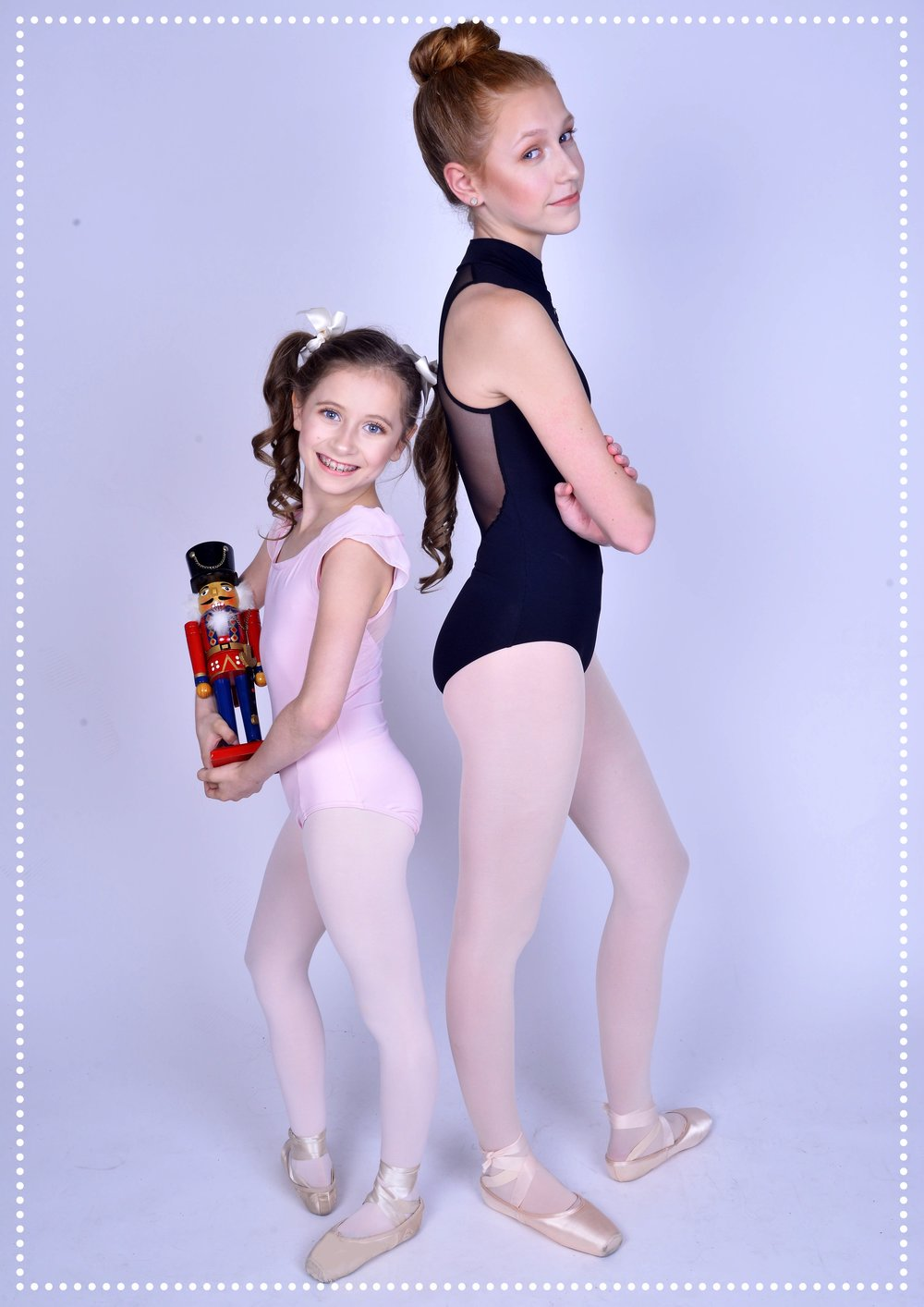 ELLIANA WALMSLEY as Gracie and CLARA YOUNG as Scarlett in the World Premiere of DANCE DIVAS NUTCRACKER. (photography by Michael Kushner)