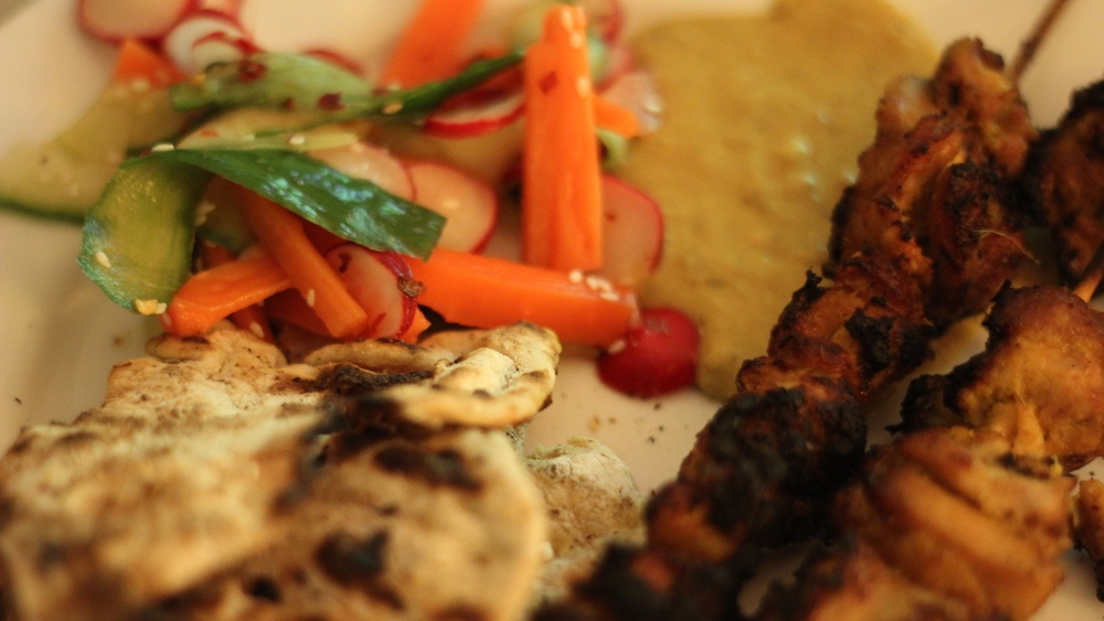 Here, I've served the salad with chargrilled chicken satay and homemade flatbreads.