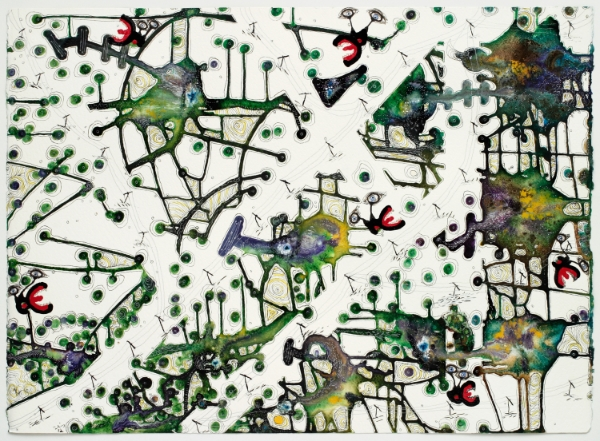 "Margaret Withers, his influence was tasteless but perceptible, 2012, watercolor/ink, 22"" x 30"""