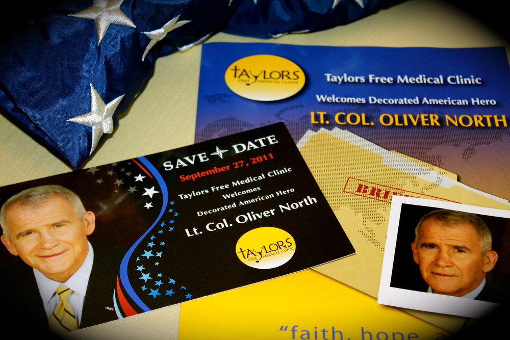 Marketing material for Lt. Col. Oliver North, Guest Speaker