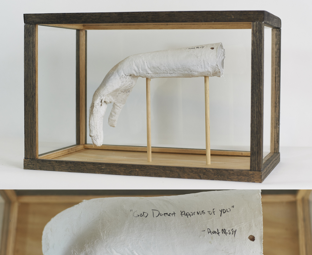 Limp Wrists #1-5    Continuing Series   2016  Wood, glass, plaster bandages, stain, ink, blood of participants   Participant: Jess Frazier
