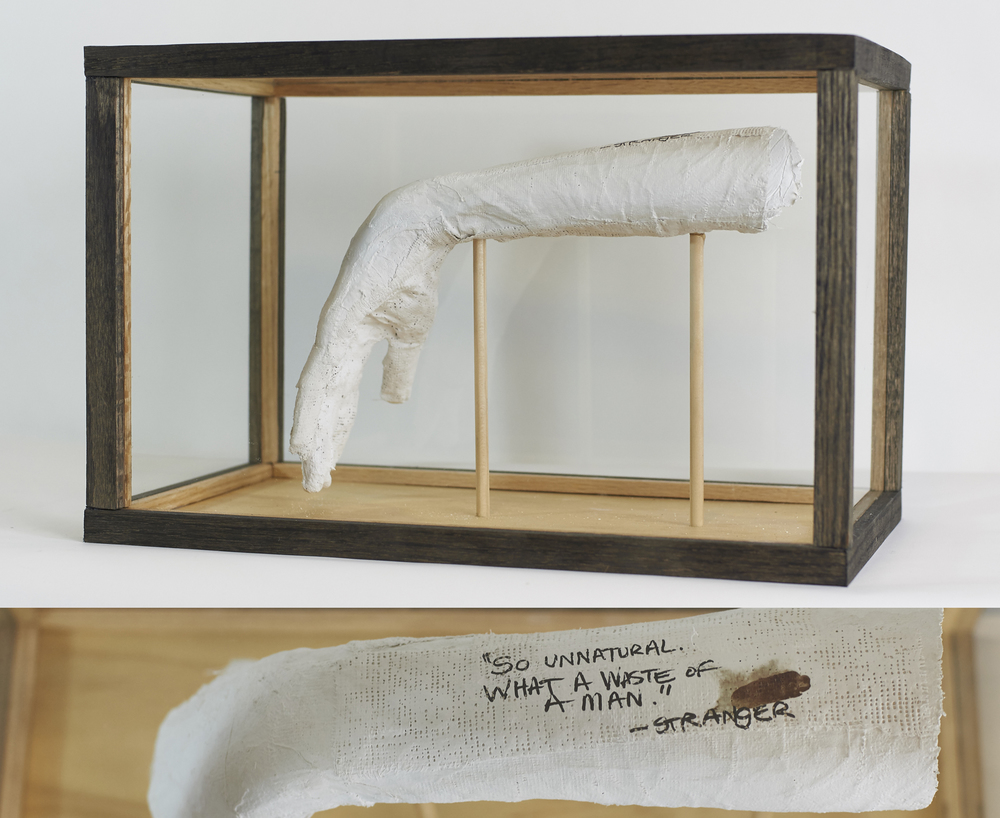 Limp Wrists #1-5    Continuing Series   2016  Wood, glass, plaster bandages, stain, ink, blood of participants   Participant: Ryan Wood