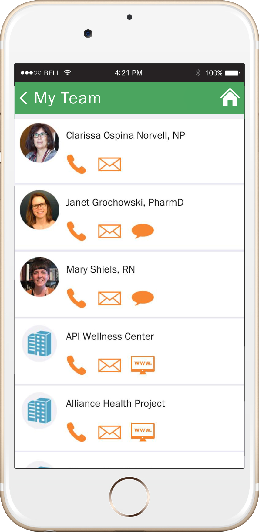 - My Team allows patients to communicate directly with their health care providers and access local resources.