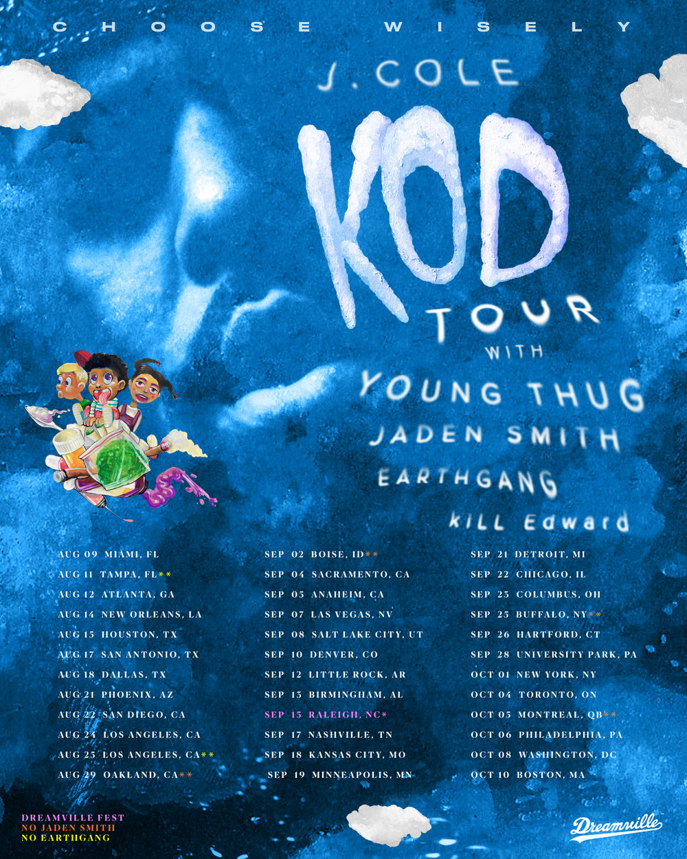 The lineup for J Cole's KOD tour that recently kicked-off in Miami.