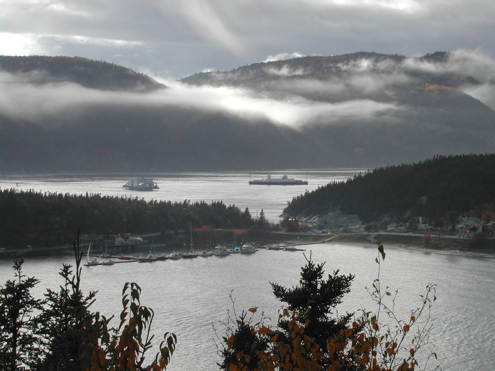 View of The  Saguenay River  fiord and Tadoussac harbor.