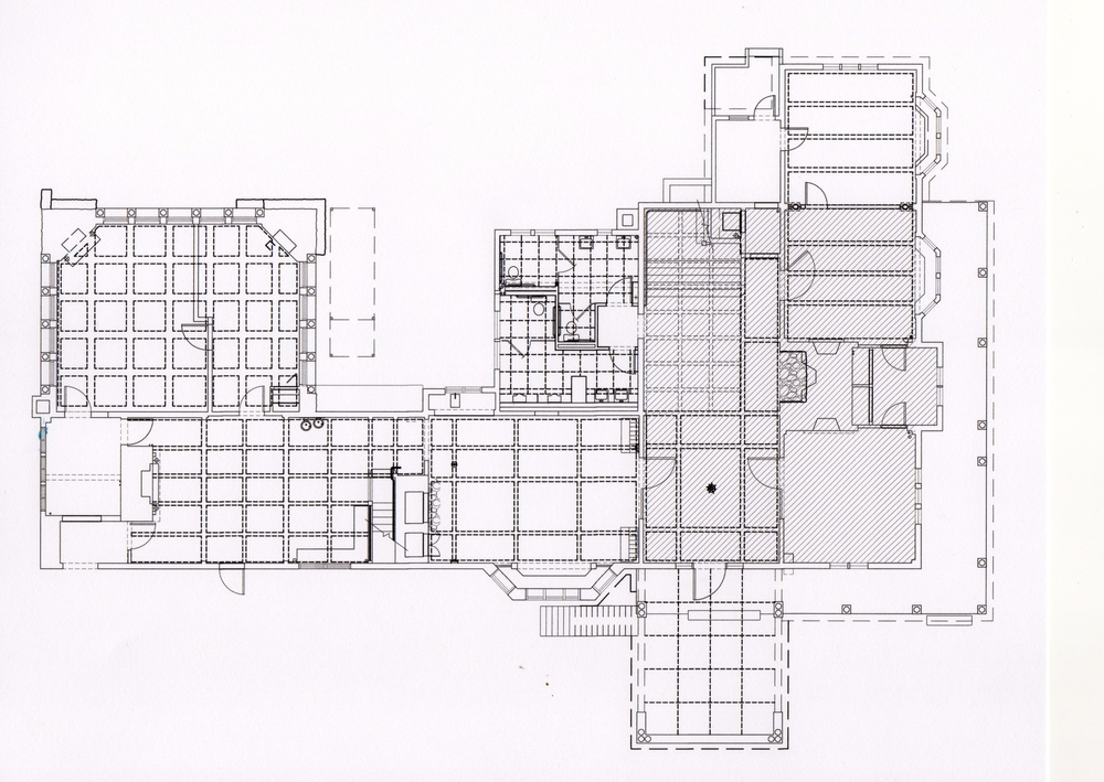 The shaded area indicates the 1792 house. The rest was added in 1892. The grids indicate the ceiling patterns.  CAD drawing by Peter Clement.
