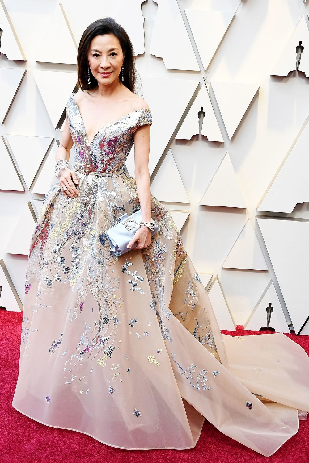MICHELLE YEOH - ELIE SAAB: This is a classic Oscars dress but the appliqué and the off the shoulder details make it special.