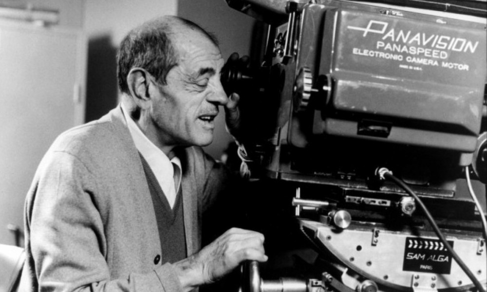 Luis Buñuel looking through the camera.