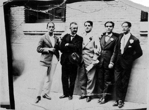 In Madrid, 1926. From left: Salvador Dalí, Moreno Villa, Luis Buñuel, García Lorca, and Jose Antonio Rubio Sacristán. Excerpted from the Autobiography of Luis Buñuel- The Awl  http://www.theawl.com/2013/04/the-autobiography-of-luis-bunuel