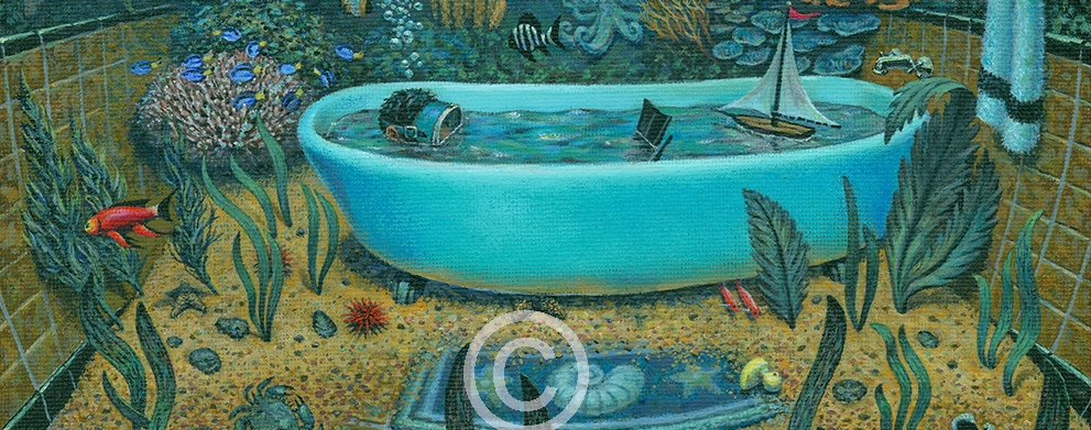 "Jean Jacques Bastarache - Submersion oil on canvas 11""w x 14""h available as a print"