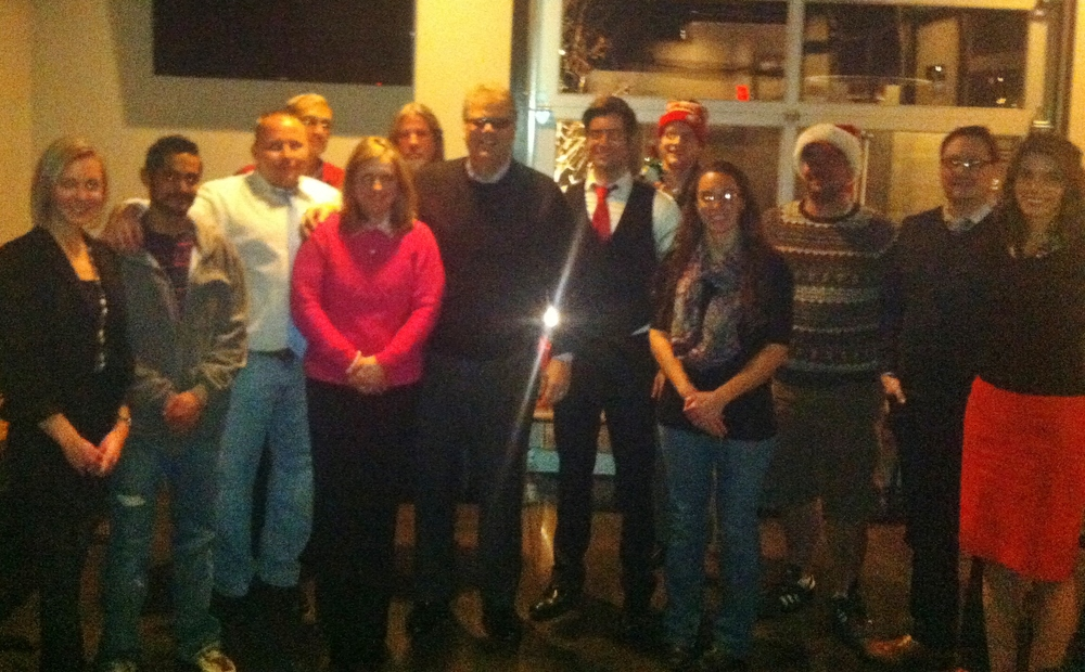 A bit blurry and dark, but a nearly complete company photo from our Christmas Party.