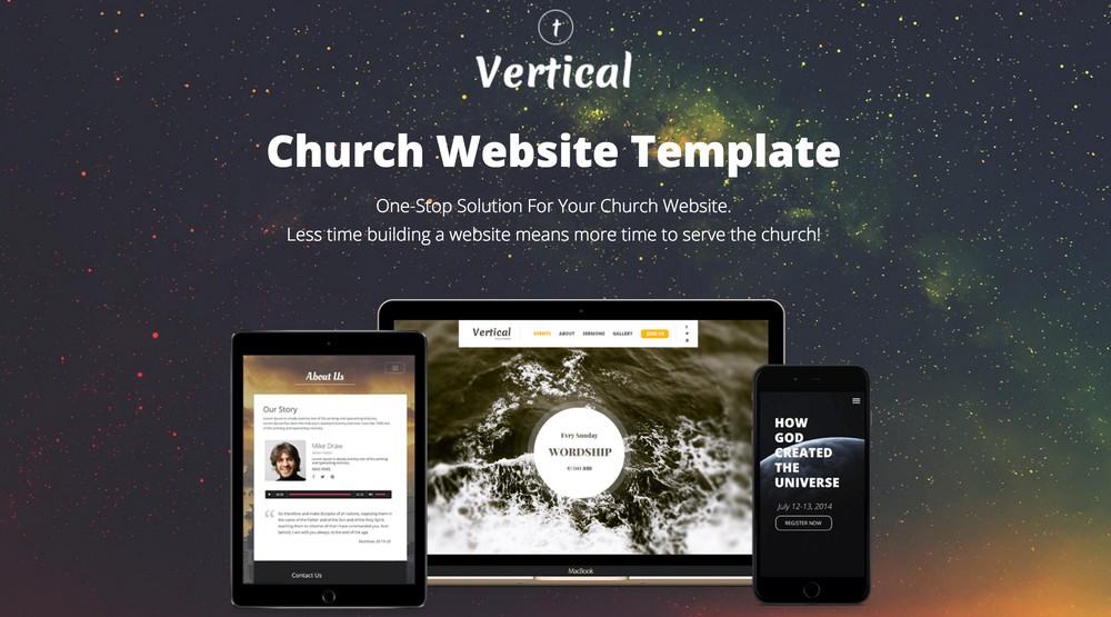 Click above to see the Vertical template landing page.