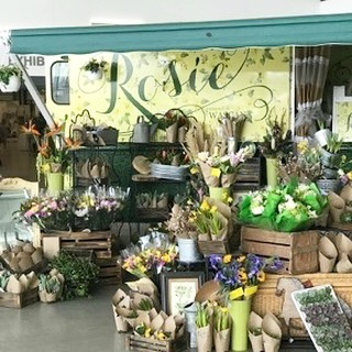Our @rosie_flower_truck is all set up @whatwomenwantevents  Doors open at 5 pm tonight. See you there!