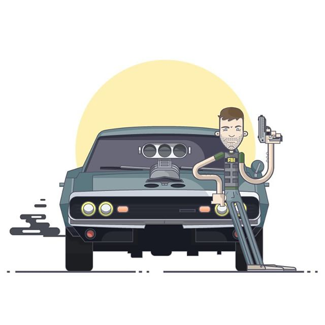 "Paul Walker, a tribute.  This illustration style is inspired by Chris Fernandez who is a huge inspiration! I was just watching Fast and Furious 7 and realized Paul Walker would be an excellent addition to his ""Walkers"" series.  If you haven't seen Chris Fernandez's awesome work you need to check him out https://dribbble.com/c_illustrates.  Peace & love guys!  #vector #illustration #thedesigntip #apjdesign #instadesign #graphicgang #flatdesign #creative #adobe #ai  #style #thevectorproject #vectorart #graphicdesign  #yycliving #dodge #charger #1970 #car #muscle"