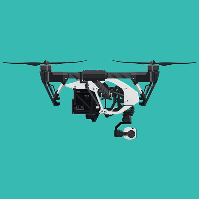 Aerial Drone Illustration. DJI Inspire 1. Illustrated for an aerial photography business and used as a marquee image.  #DJI #drone #camera #vector #illustration #thedesigntip #apjdesign #instadesign #flatdesign #creative #adobe #icons #style #thevectorproject #vectorart #branding #graphicdesign  #design