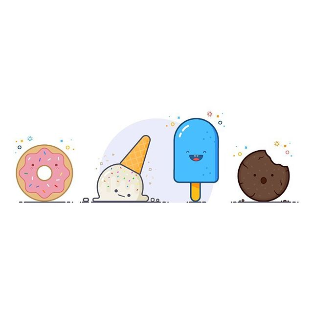 "I'm a healthy eater and these yummies are tempting. But instead of eating 1 of or all of these treats... I decided to illustrate them instead. Donut - ""whoa dude, donuts are awesome"" Ice cream cone - ""dumb child, you've destroyed me"" Popsicle - ""just chillin!"" Cookie - ""noooo"" Hope this satisfies your sweet tooth 😜  #vector #illustration #thedesigntip #apjdesign #instadesign #flatdesign #creative #adobe #illustrator #icons #style #web #thevectorproject #vectorart #branding #graphicdesign #donut #treats #cookies"
