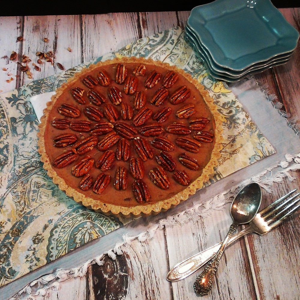 pecan pie, almond pressed crust, candied pecans