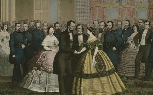 The Lincolns hosted numerous receptions, balls, and dinners in the White House.   (Abraham Lincoln's Last Reception  Courtesy of the Library of Congress)