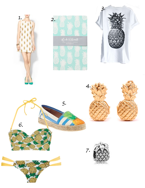 1.)  Townsen Pineapple Dress  2.)  Day Journals Vacation Set   3.)  Pineapple Shirt  4.)  Pineapple Earrings  5.)  Kaanas Bahamas Flatform  6.)   Pineapple Bikini   ON SALE!  7.)  Sparkling Pineapple, Clear CZ