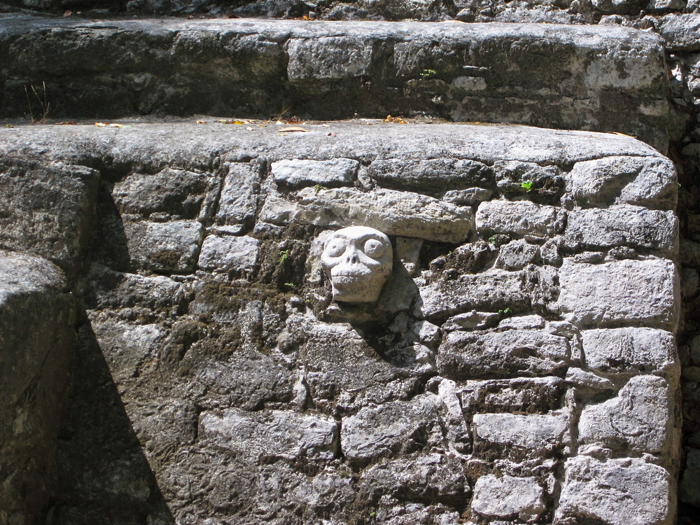 gnarly skull at Cobá