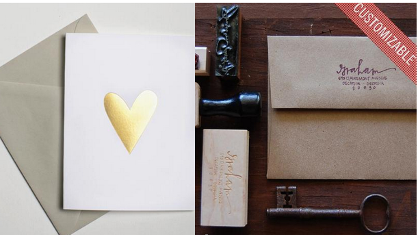 Gold Foil Heart Notecards Set of 5;  Custom Calligraphy Address Stamp