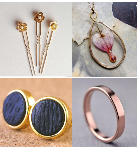 clockwise from left:  Casey Pearl Hair Pins;  Bleeding Heart Pressed Flower Necklace;  Polished 3 mm Rose Gold Band;  Gold Whiskey Barrel Oak Cufflinks