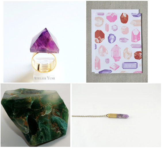 Clockwise from top left: Amethyst Gemstone Pyramid Ring, Thank You Jewels and Gems Notecard, Purple Jasper Crystal Bullet Necklace, Malachite Soap