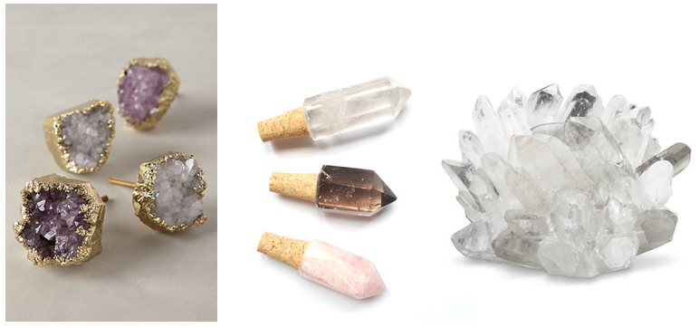 Clockwise from top left: Quartz Knobs, Quartz Crystal Wine Stoppers, Clear Quartz Votive Holder,