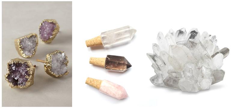 Clockwise from top left:Quartz Knobs,Quartz Crystal Wine Stoppers,Clear Quartz Votive Holder,